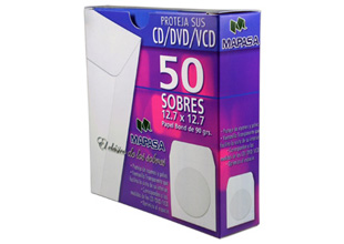 50 Sobres para CD / DVD color blanco